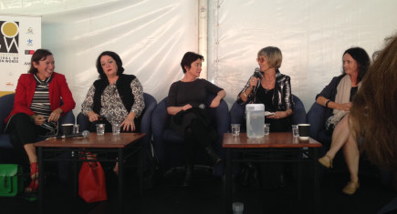 Festival of Golden Words panel for 'What Makes Women Glad, Sad and Mad' session. L-R: Nikki Gemmell, Wendy Harmer, Fiona O'Loughlin, chair Irina Dunn and Katherine Scholes.