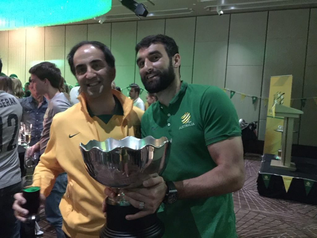John Marcarian with Socceroos captain Mile Jedinak