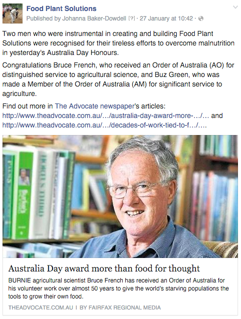 Bruce French Food Plant Solutions Australia Day honours